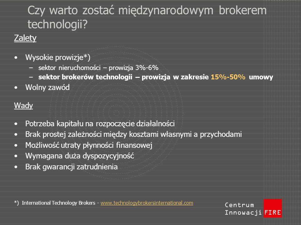 Czy warto zostać międzynarodowym brokerem technologii? Zalety Wysokie prowizje*) –sektor nieruchomości – prowizja 3%-6% –sektor brokerów technologii –