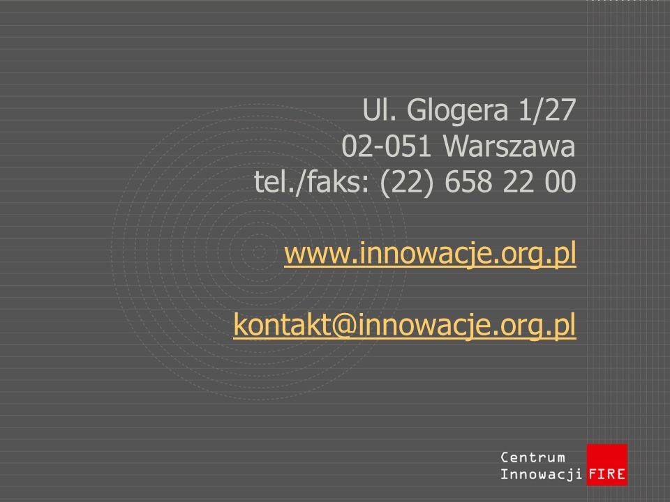 Ul. Glogera 1/27 02-051 Warszawa tel./faks: (22) 658 22 00 www.innowacje.org.pl kontakt@innowacje.org.pl www.innowacje.org.pl kontakt@innowacje.org.pl
