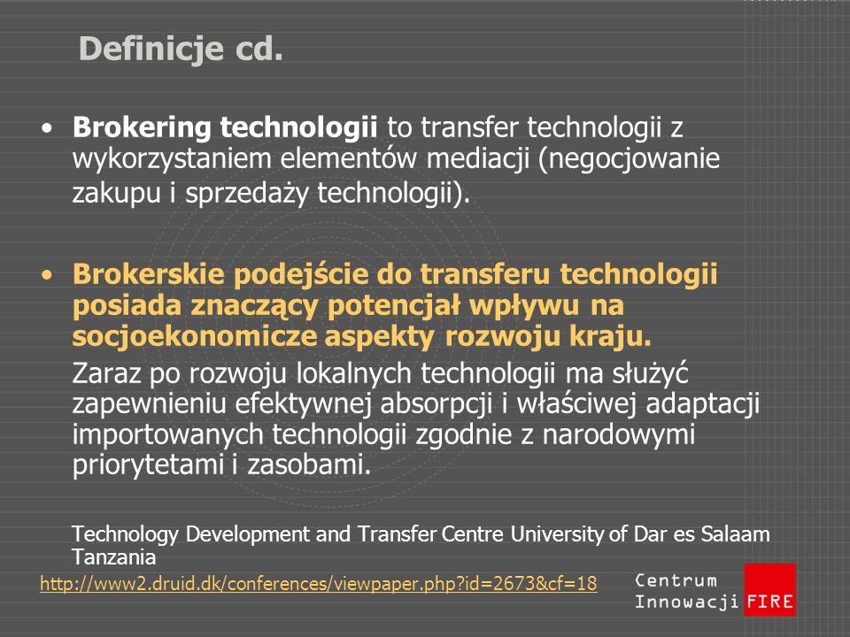 Definicje cd. Brokering technologii to transfer technologii z wykorzystaniem elementów mediacji (negocjowanie zakupu i sprzedaży technologii). Brokers
