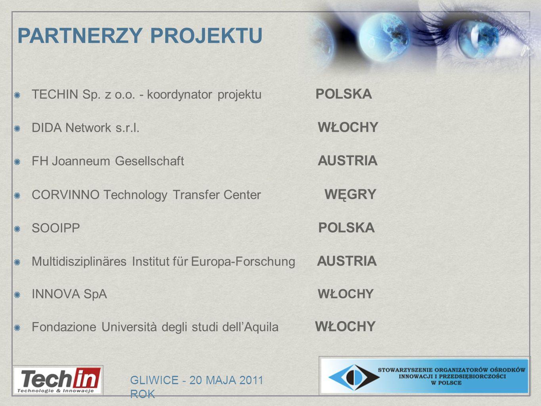 TECHIN Sp. z o.o. - koordynator projektu POLSKA DIDA Network s.r.l. WŁOCHY FH Joanneum Gesellschaft AUSTRIA CORVINNO Technology Transfer Center WĘGRY
