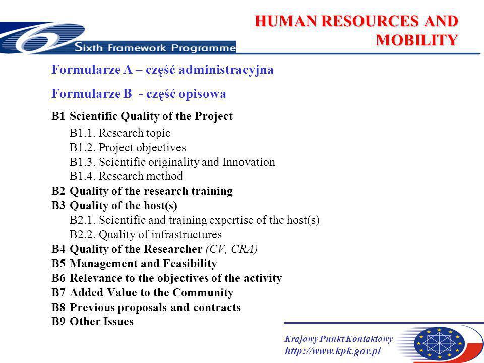 Krajowy Punkt Kontaktowy http://www.kpk.gov.pl HUMAN RESOURCES AND MOBILITY Formularze A – część administracyjna Formularze B - część opisowa B1Scientific Quality of the Project B1.1.