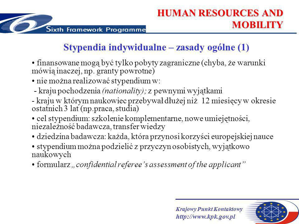 Krajowy Punkt Kontaktowy http://www.kpk.gov.pl HUMAN RESOURCES AND MOBILITY Stypendia indywidualne – zasady ogólne (1) finansowane mogą być tylko pobyty zagraniczne (chyba, że warunki mówią inaczej, np.