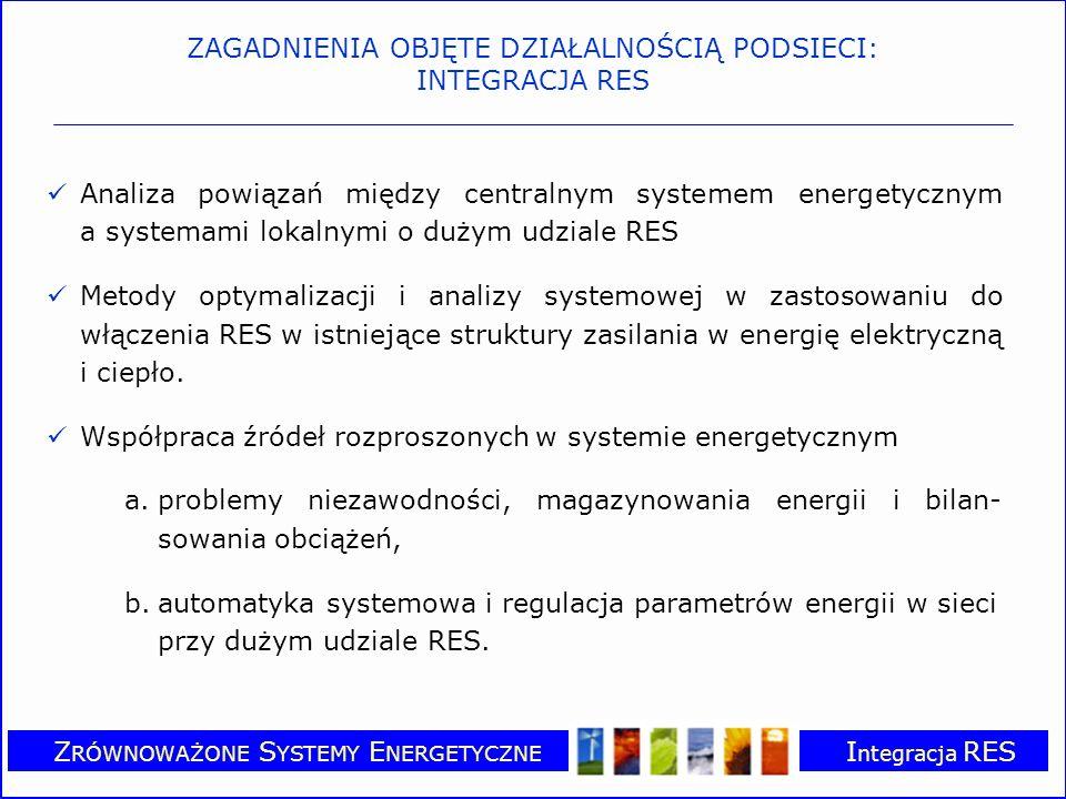 Z RÓWNOWAŻONE S YSTEMY E NERGETYCZNE I ntegracja RES Aspekty ekonomiczne prawne i społeczne w procesie integracji źródeł odnawialnych z istniejącymi systemami zasilania w ciepło i energię elektryczną –Powiązanie energetyki odnawialnej z rynkiem bilansującym –Zarządzanie popytem energii ze źródeł odnawialnych jako instrument polityki energetycznej –Promocja wspólnot lokalnych o zrównoważonych systemach energetycznych (SEC) ZAGADNIENIA OBJĘTE DZIAŁALNOŚCIĄ PODSIECI: INTEGRACJA RES