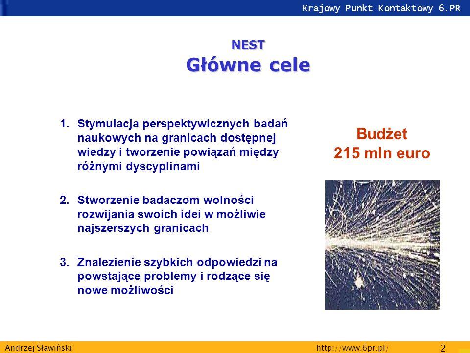 Krajowy Punkt Kontaktowy 6.PR http://www.6pr.pl/ 2 Andrzej Sławiński 1.Stymulacja perspektywicznych badań naukowych na granicach dostępnej wiedzy i tworzenie powiązań między różnymi dyscyplinami 2.Stworzenie badaczom wolności rozwijania swoich idei w możliwie najszerszych granicach 3.Znalezienie szybkich odpowiedzi na powstające problemy i rodzące się nowe możliwości Budżet 215 mln euro NEST Główne cele