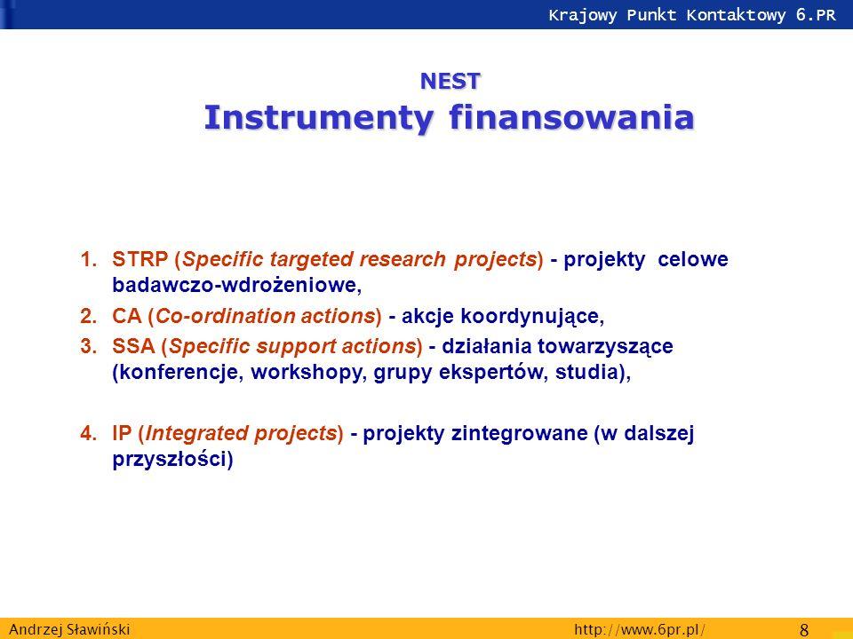 Krajowy Punkt Kontaktowy 6.PR http://www.6pr.pl/ 8 Andrzej Sławiński NEST Instrumenty finansowania 1.STRP (Specific targeted research projects) - projekty celowe badawczo-wdrożeniowe, 2.CA (Co-ordination actions) - akcje koordynujące, 3.SSA (Specific support actions) - działania towarzyszące (konferencje, workshopy, grupy ekspertów, studia), 4.IP (Integrated projects) - projekty zintegrowane (w dalszej przyszłości)