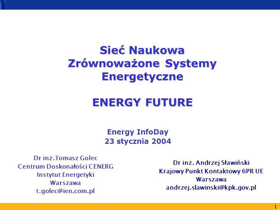 1 Sieć Naukowa Zrównoważone Systemy Energetyczne ENERGY FUTURE Dr inż.Tomasz Golec Centrum Doskonałości CENERG Instytut Energetyki Warszawa t.golec@ie
