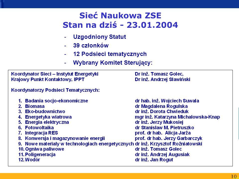 10 Sieć Naukowa ZSE Stan na dziś - 23.01.2004 -Uzgodniony Statut -39 członków -12 Podsieci tematycznych -Wybrany Komitet Sterujący: