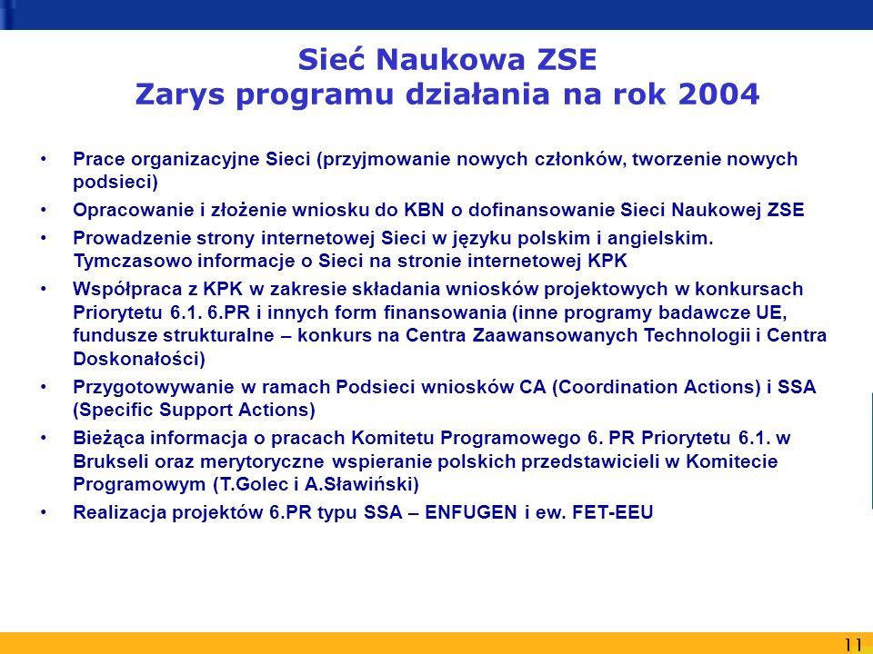 11 Sieć Naukowa ZSE Zarys programu działania na rok 2004 Prace organizacyjne Sieci (przyjmowanie nowych członków, tworzenie nowych podsieci) Opracowan