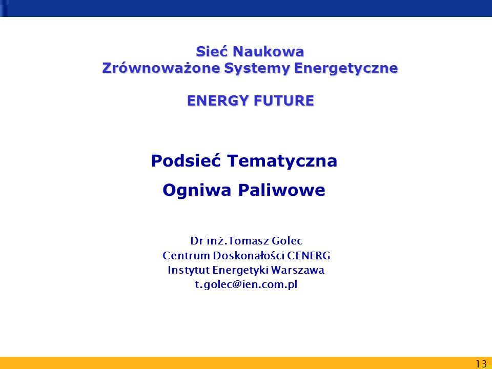 13 Podsieć Tematyczna Ogniwa Paliwowe Sieć Naukowa Zrównoważone Systemy Energetyczne ENERGY FUTURE Dr inż.Tomasz Golec Centrum Doskonałości CENERG Ins