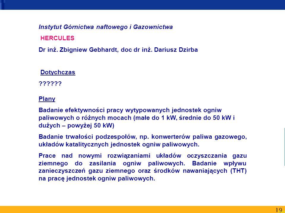 19 Instytut Górnictwa naftowego i Gazownictwa HERCULES Dr inż. Zbigniew Gebhardt, doc dr inż. Dariusz Dzirba Dotychczas ?????? Plany Badanie efektywno