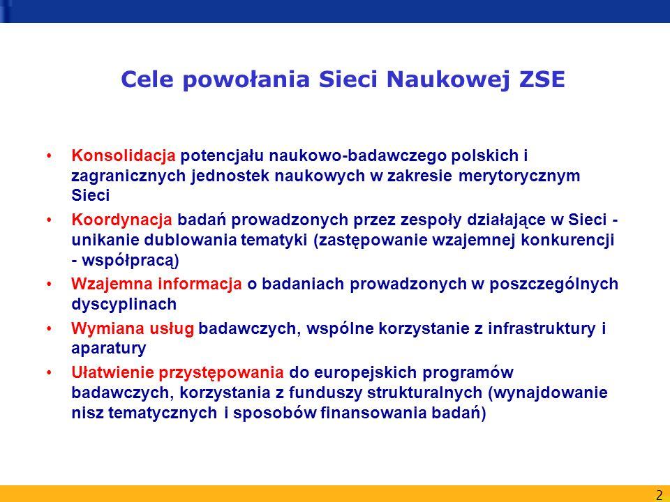 2 Cele powołania Sieci Naukowej ZSE Konsolidacja potencjału naukowo-badawczego polskich i zagranicznych jednostek naukowych w zakresie merytorycznym S