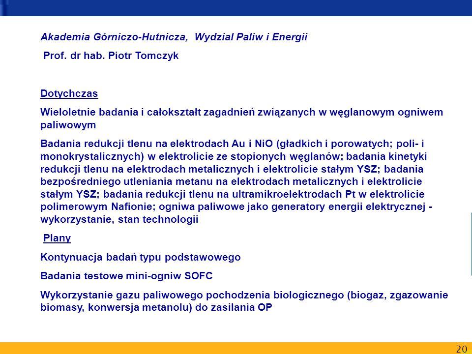 20 Akademia Górniczo-Hutnicza, Wydzial Paliw i Energii Prof. dr hab. Piotr Tomczyk Dotychczas Wieloletnie badania i całokształt zagadnień związanych w