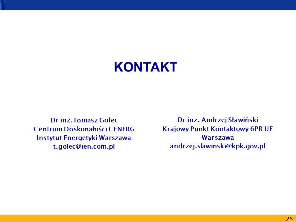 25 Dr inż. Andrzej Sławiński Krajowy Punkt Kontaktowy 6PR UE Warszawa andrzej.slawinski@kpk.gov.pl Dr inż.Tomasz Golec Centrum Doskonałości CENERG Ins
