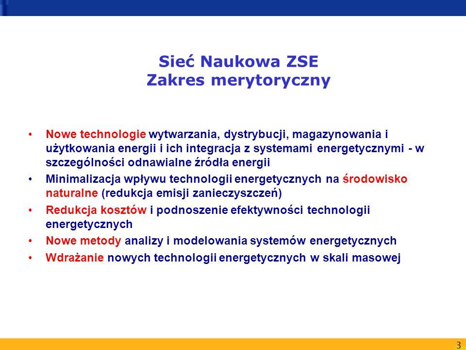3 Sieć Naukowa ZSE Zakres merytoryczny Nowe technologie wytwarzania, dystrybucji, magazynowania i użytkowania energii i ich integracja z systemami ene