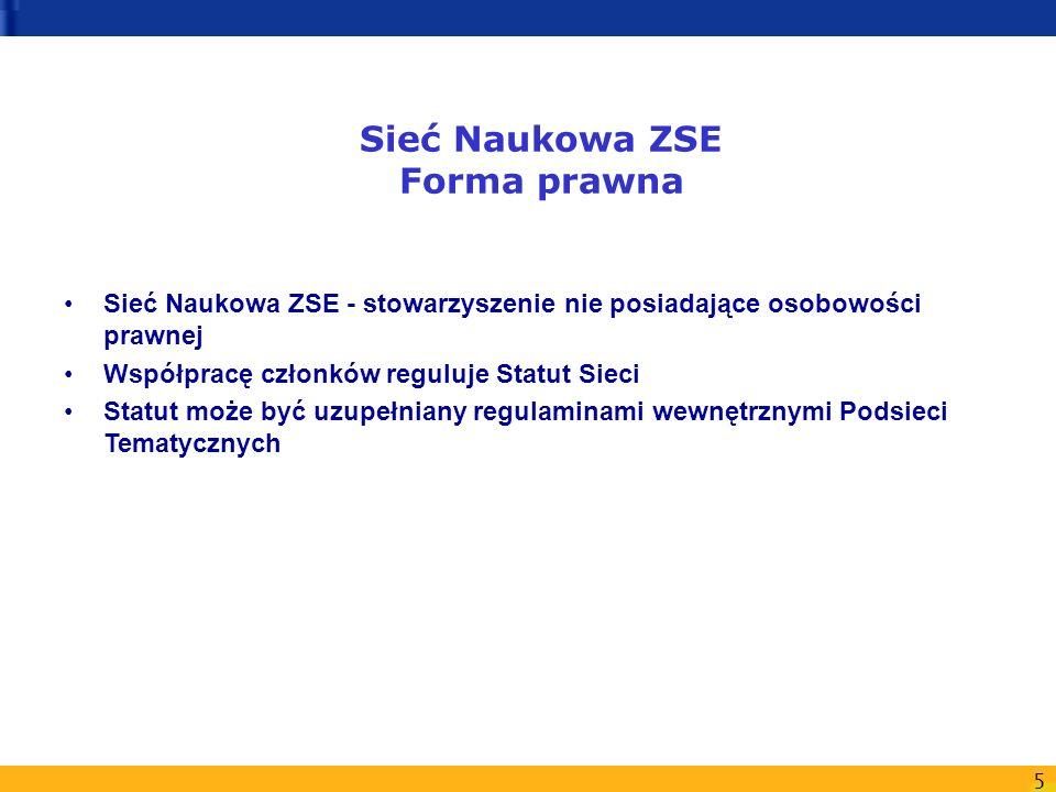 6 Sieć Naukowa ZSE Organizacja Sieci Członkami założycielami Sieci są członkowie Nieformalnej Grupy Roboczej Priorytetu 6.1 ZSE grupującej polskie Centra Doskonałości w Programie Energia 5.