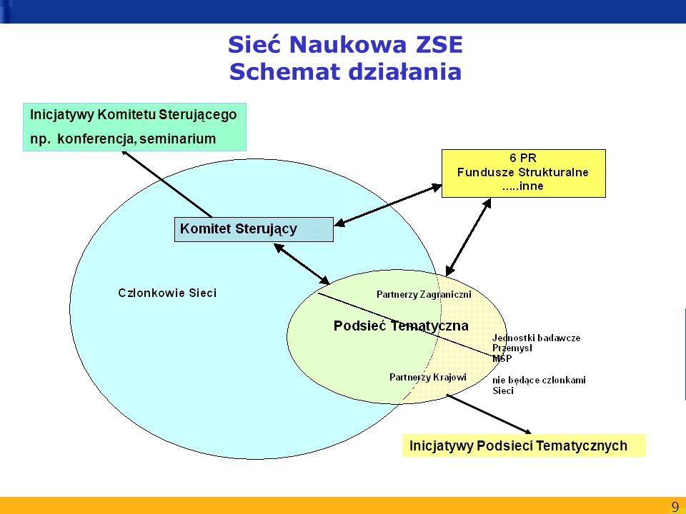 9 Sieć Naukowa ZSE Schemat działania Inicjatywy Komitetu Sterującego np. konferencja, seminarium Inicjatywy Podsieci Tematycznych