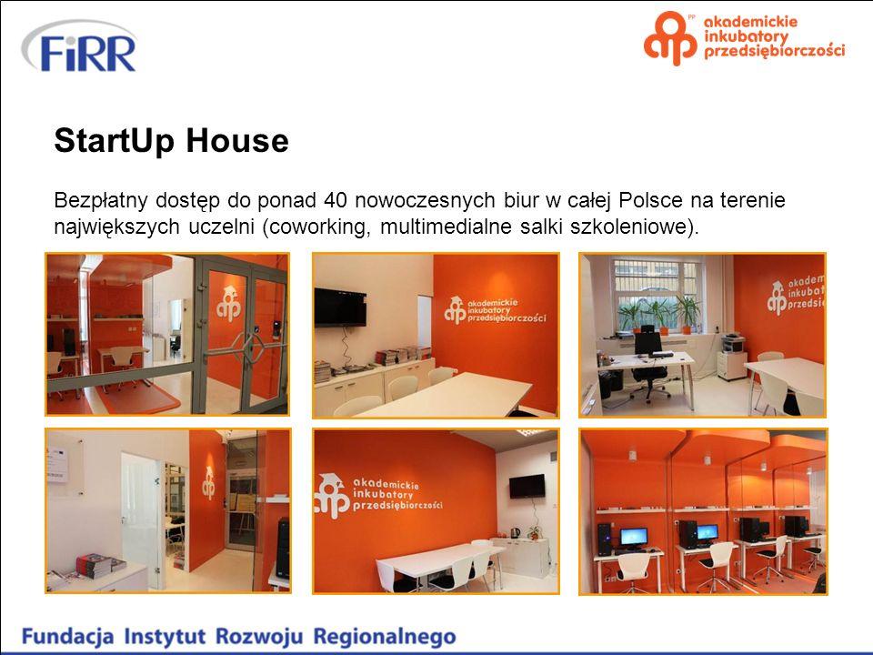 StartUp House Bezpłatny dostęp do ponad 40 nowoczesnych biur w całej Polsce na terenie największych uczelni (coworking, multimedialne salki szkoleniow