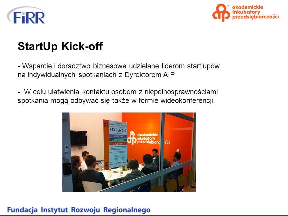 StartUp Kick-off - Wsparcie i doradztwo biznesowe udzielane liderom startupów na indywidualnych spotkaniach z Dyrektorem AIP - W celu ułatwienia konta