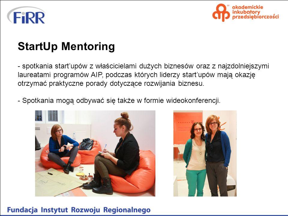 StartUp Mentoring - spotkania startupów z właścicielami dużych biznesów oraz z najzdolniejszymi laureatami programów AIP, podczas których liderzy star