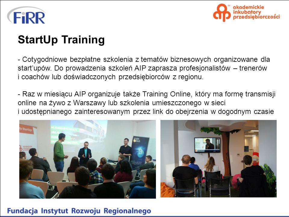 StartUp Training - Cotygodniowe bezpłatne szkolenia z tematów biznesowych organizowane dla startupów. Do prowadzenia szkoleń AIP zaprasza profesjonali