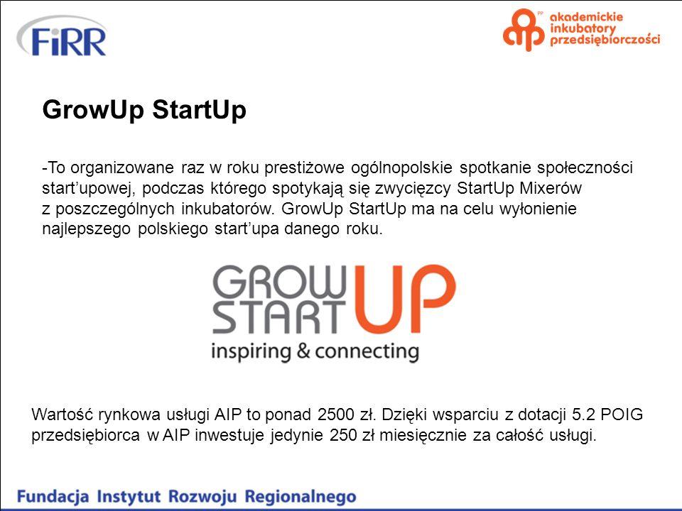 GrowUp StartUp -To organizowane raz w roku prestiżowe ogólnopolskie spotkanie społeczności startupowej, podczas którego spotykają się zwycięzcy StartU