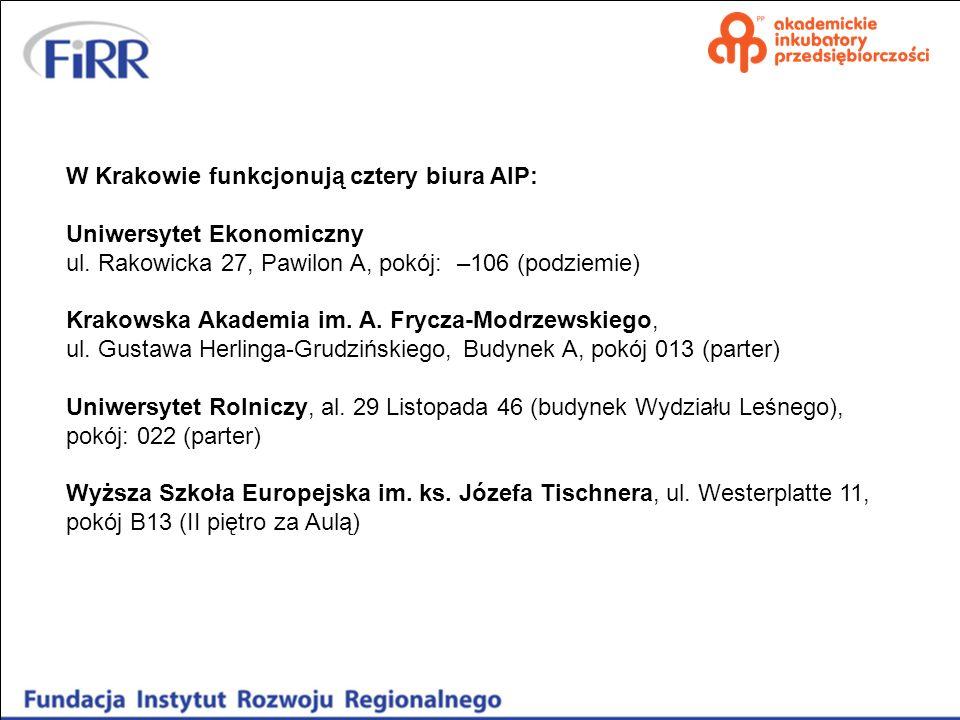 W Krakowie funkcjonują cztery biura AIP: Uniwersytet Ekonomiczny ul. Rakowicka 27, Pawilon A, pokój: –106 (podziemie) Krakowska Akademia im. A. Frycza