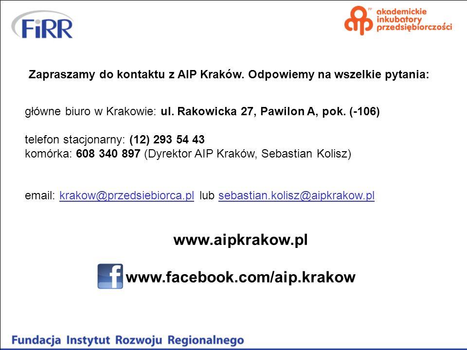 Zapraszamy do kontaktu z AIP Kraków. Odpowiemy na wszelkie pytania: główne biuro w Krakowie: ul. Rakowicka 27, Pawilon A, pok. (-106) telefon stacjona