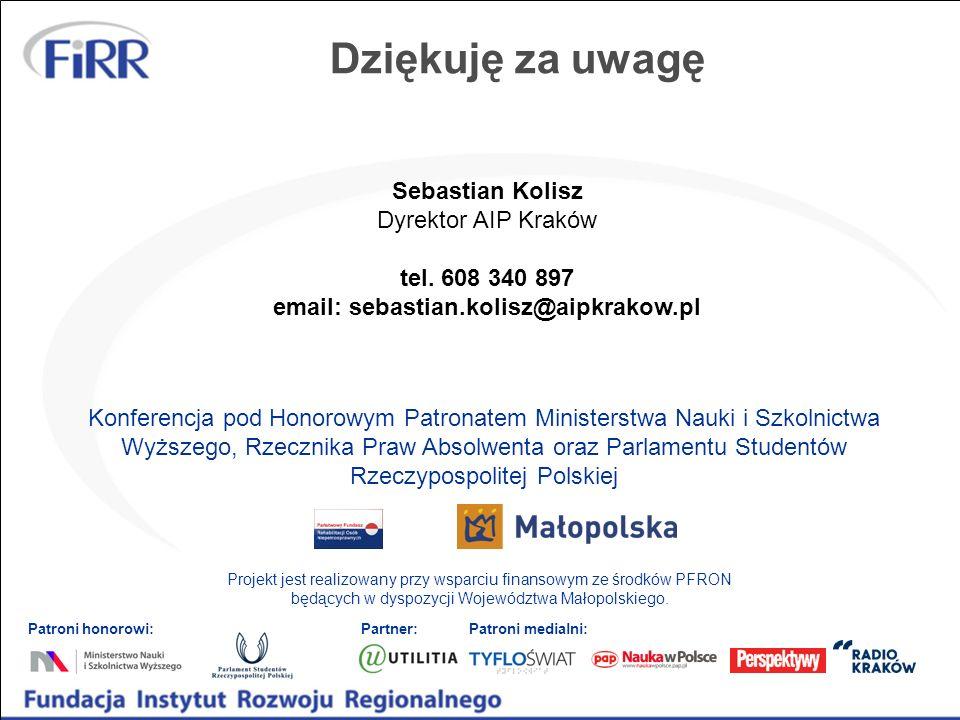 Dziękuję za uwagę Sebastian Kolisz Dyrektor AIP Kraków tel. 608 340 897 email: sebastian.kolisz@aipkrakow.pl Konferencja pod Honorowym Patronatem Mini