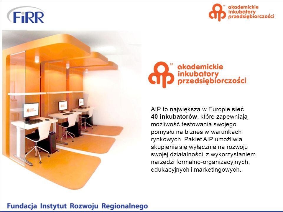 AIP to największa w Europie sieć 40 inkubatorów, które zapewniają możliwość testowania swojego pomysłu na biznes w warunkach rynkowych. Pakiet AIP umo