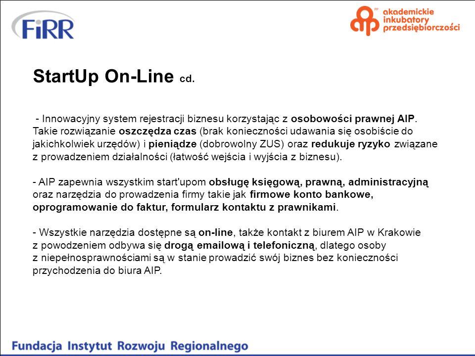StartUp On-Line cd. - Innowacyjny system rejestracji biznesu korzystając z osobowości prawnej AIP. Takie rozwiązanie oszczędza czas (brak konieczności
