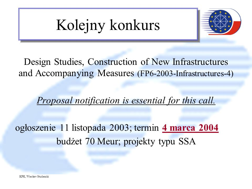 KPK, Wiesław Studencki Kolejny konkurs Design Studies, Construction of New Infrastructures and Accompanying Measures (FP6-2003-Infrastructures-4) Prop