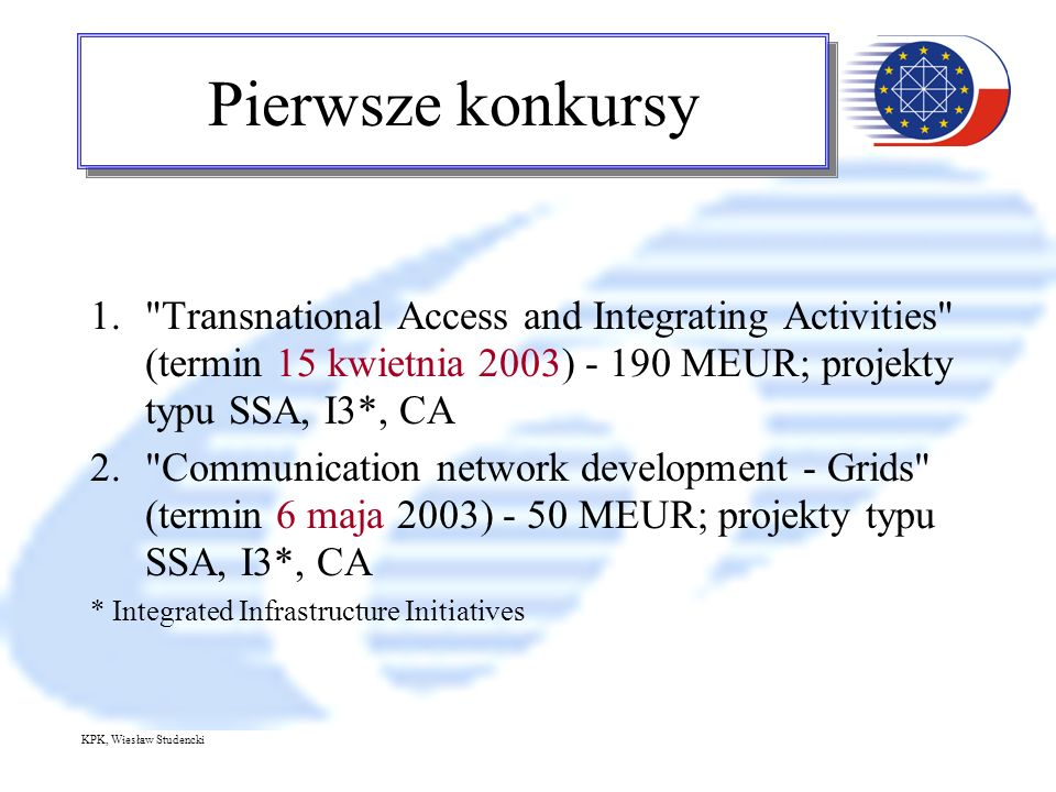 KPK, Wiesław Studencki Pierwsze konkursy 1. Transnational Access and Integrating Activities (termin 15 kwietnia 2003) MEUR; projekty typu SSA, I3*, CA 2. Communication network development - Grids (termin 6 maja 2003) - 50 MEUR; projekty typu SSA, I3*, CA * Integrated Infrastructure Initiatives