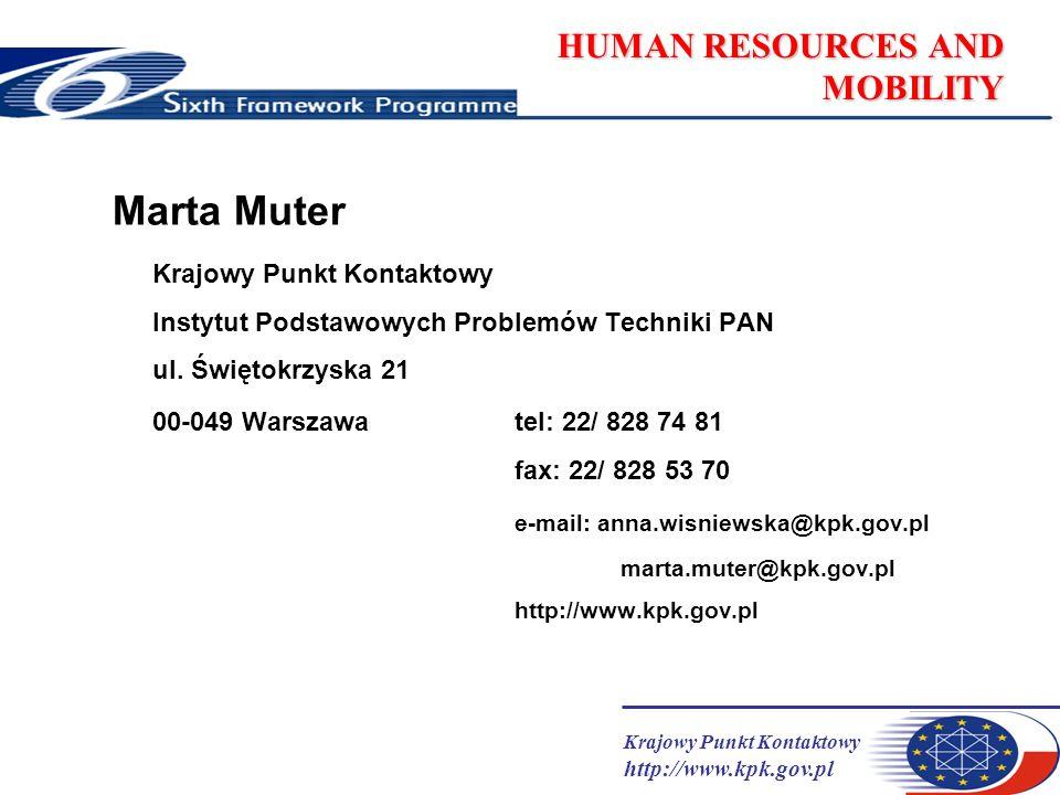 Krajowy Punkt Kontaktowy http://www.kpk.gov.pl HUMAN RESOURCES AND MOBILITY Marta Muter Krajowy Punkt Kontaktowy Instytut Podstawowych Problemów Techniki PAN ul.