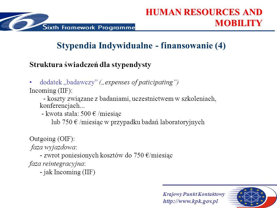 Krajowy Punkt Kontaktowy http://www.kpk.gov.pl HUMAN RESOURCES AND MOBILITY Stypendia Indywidualne - finansowanie (4) Struktura świadczeń dla stypendysty dodatek badawczy (expenses of paticipating) Incoming (IIF): - koszty związane z badaniami, uczestnictwem w szkoleniach, konferencjach...
