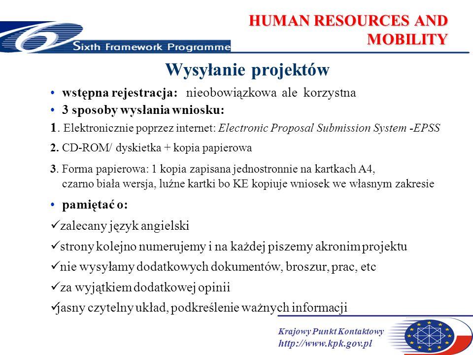 Krajowy Punkt Kontaktowy http://www.kpk.gov.pl HUMAN RESOURCES AND MOBILITY Wysyłanie projektów wstępna rejestracja: nieobowiązkowa ale korzystna 3 sp