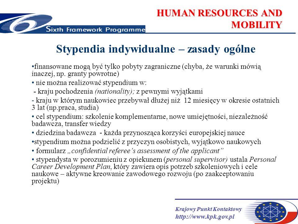 Krajowy Punkt Kontaktowy http://www.kpk.gov.pl HUMAN RESOURCES AND MOBILITY Stypendia indywidualne – zasady ogólne finansowane mogą być tylko pobyty z