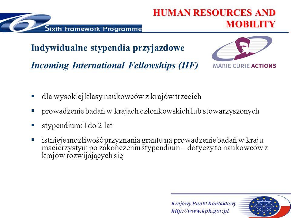 Krajowy Punkt Kontaktowy http://www.kpk.gov.pl HUMAN RESOURCES AND MOBILITY Stypendia indywidualne - finansowanie (1) KE finansuje koszty związane z naukowcem i koszty ponoszone przez instytucję goszczącą finansowanie EU wynosi do 100% finansowanie podzielone na kategorie – różnice w ich stosowaniu w zależności od rodzaju stypendium wszystkie należności wypłacane są instytucji (kontrahentowi KE), która ma obowiązek wypłacić stypendyście należne mu świadczenia kwoty podawane są w brutto, co oznacza, że stypendyści mogą otrzymywać różne kwoty będąc w tym samym kraju stosowanie przelicznika krajowego- correction coefficients