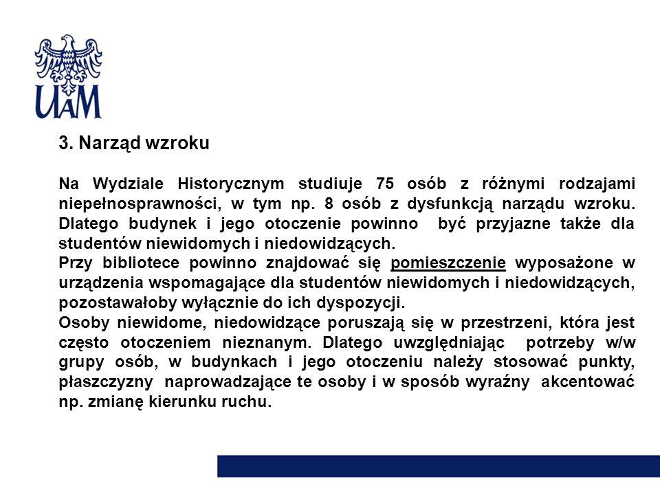 3. Narząd wzroku Na Wydziale Historycznym studiuje 75 osób z różnymi rodzajami niepełnosprawności, w tym np. 8 osób z dysfunkcją narządu wzroku. Dlate