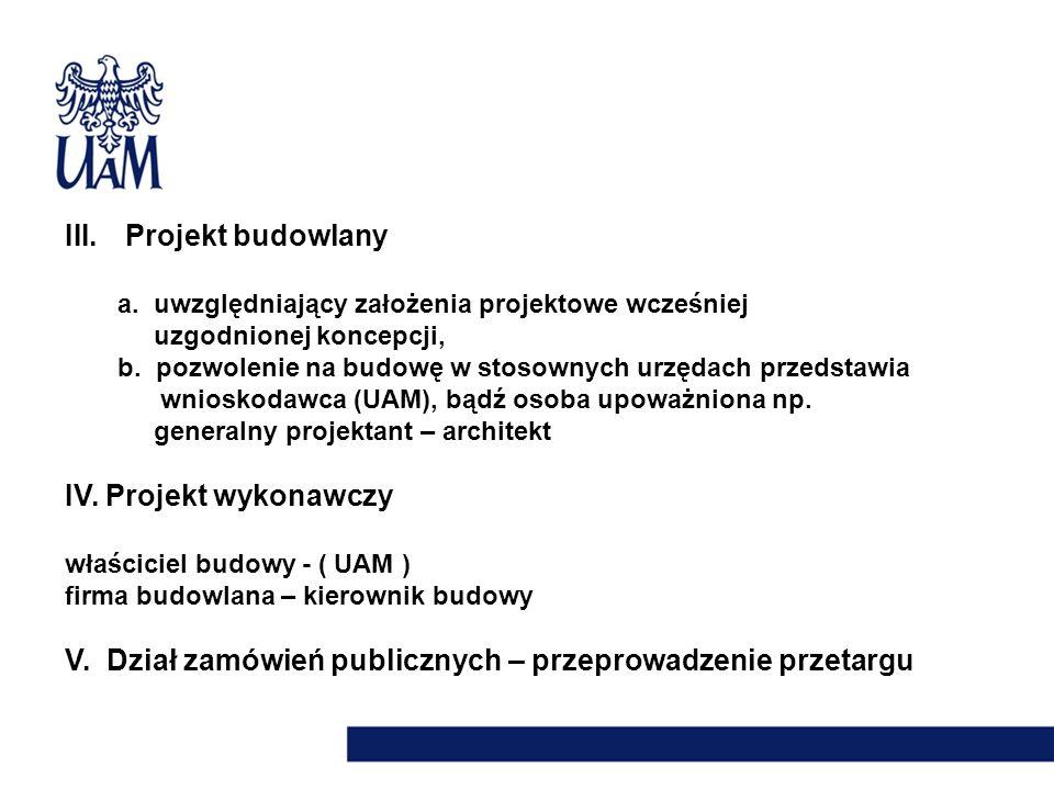 III. Projekt budowlany a. uwzględniający założenia projektowe wcześniej uzgodnionej koncepcji, b. pozwolenie na budowę w stosownych urzędach przedstaw