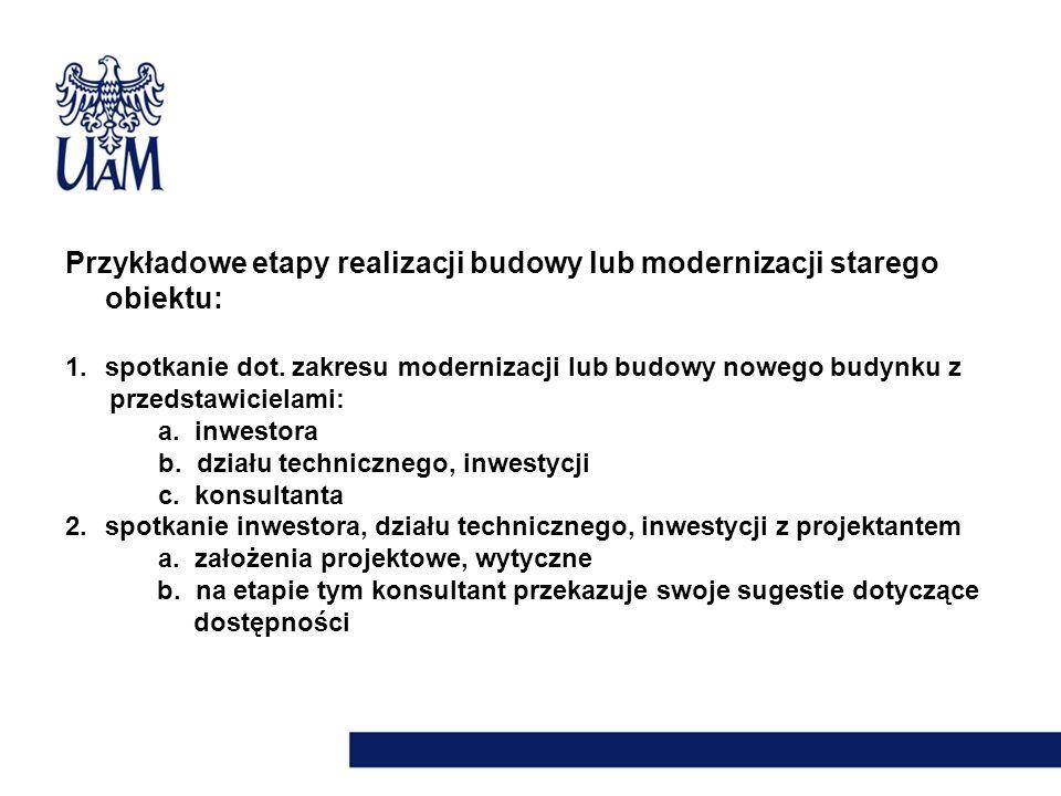 Przykładowe etapy realizacji budowy lub modernizacji starego obiektu: 1.spotkanie dot. zakresu modernizacji lub budowy nowego budynku z przedstawiciel