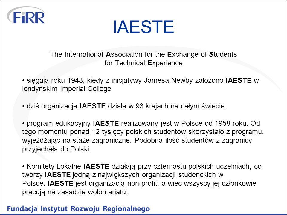 The International Association for the Exchange of Students for Technical Experience sięgają roku 1948, kiedy z inicjatywy Jamesa Newby założono IAESTE