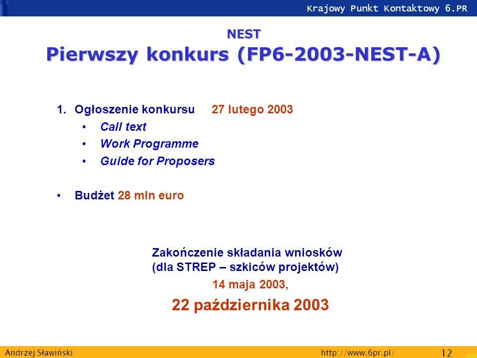 Krajowy Punkt Kontaktowy 6.PR http://www.6pr.pl/ 12 Andrzej Sławiński NEST Pierwszy konkurs (FP6-2003-NEST-A) 1.Ogłoszenie konkursu 27 lutego 2003 Call text Work Programme Guide for Proposers Budżet 28 mln euro Zakończenie składania wniosków (dla STREP – szkiców projektów) 14 maja 2003, 22 października 2003