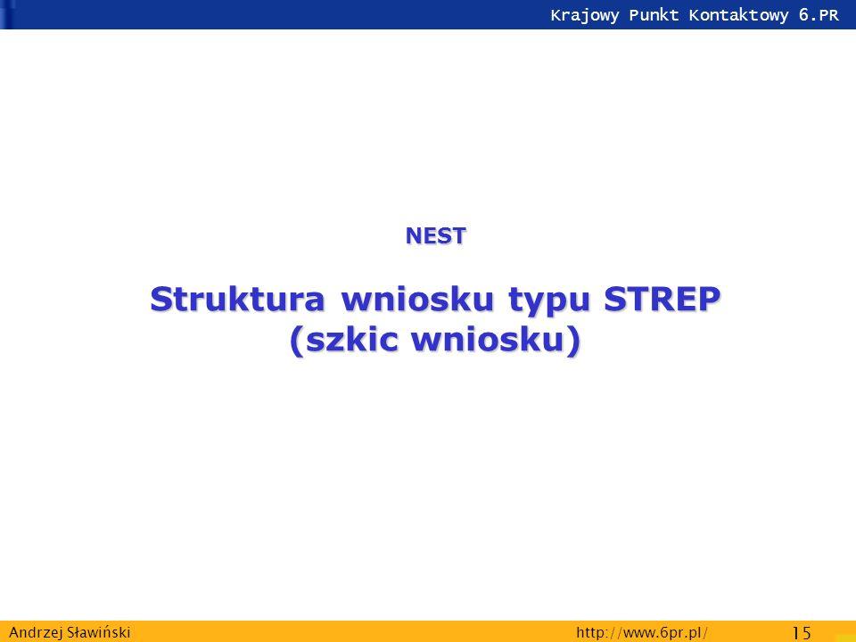 Krajowy Punkt Kontaktowy 6.PR http://www.6pr.pl/ 15 Andrzej Sławiński NEST Struktura wniosku typu STREP (szkic wniosku)