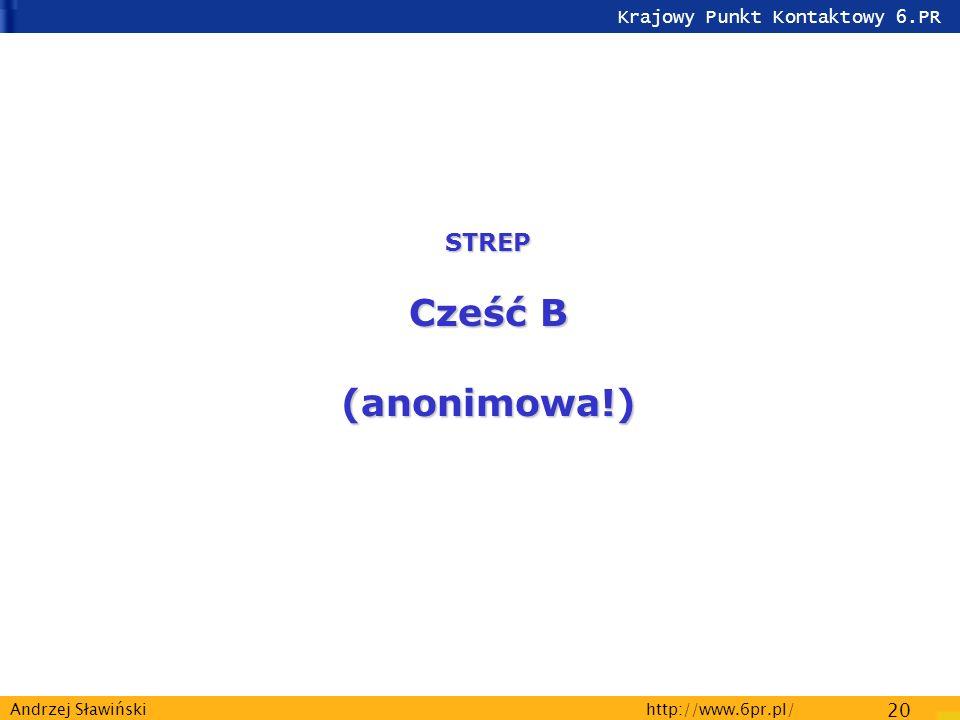 Krajowy Punkt Kontaktowy 6.PR http://www.6pr.pl/ 20 Andrzej Sławiński STREP Cześć B (anonimowa!)