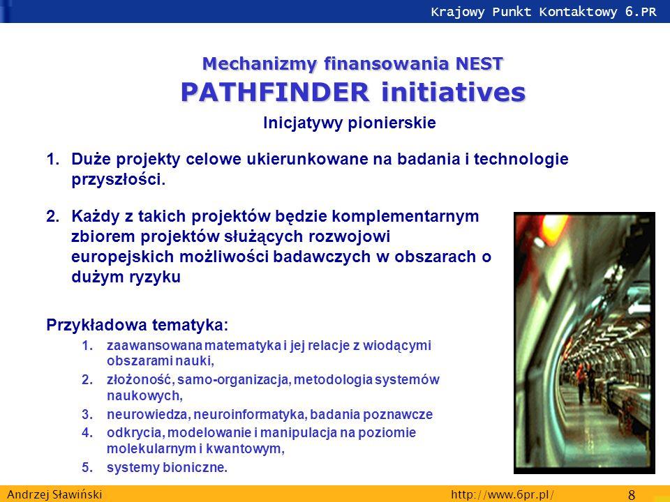Krajowy Punkt Kontaktowy 6.PR http://www.6pr.pl/ 8 Andrzej Sławiński 2.Każdy z takich projektów będzie komplementarnym zbiorem projektów służących rozwojowi europejskich możliwości badawczych w obszarach o dużym ryzyku Przykładowa tematyka: 1.zaawansowana matematyka i jej relacje z wiodącymi obszarami nauki, 2.złożoność, samo-organizacja, metodologia systemów naukowych, 3.neurowiedza, neuroinformatyka, badania poznawcze 4.odkrycia, modelowanie i manipulacja na poziomie molekularnym i kwantowym, 5.systemy bioniczne.