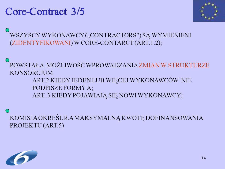 14 WSZYSCY WYKONAWCY (CONTRACTORS) SĄ WYMIENIENI (ZIDENTYFIKOWANI) W CORE-CONTARCT (ART.1.2); POWSTAŁA MOŻLIWOŚĆ WPROWADZANIA ZMIAN W STRUKTURZE KONSORCJUM ART.2 KIEDY JEDEN LUB WIĘCEJ WYKONAWCÓW NIE PODPISZE FORMY A; ART.