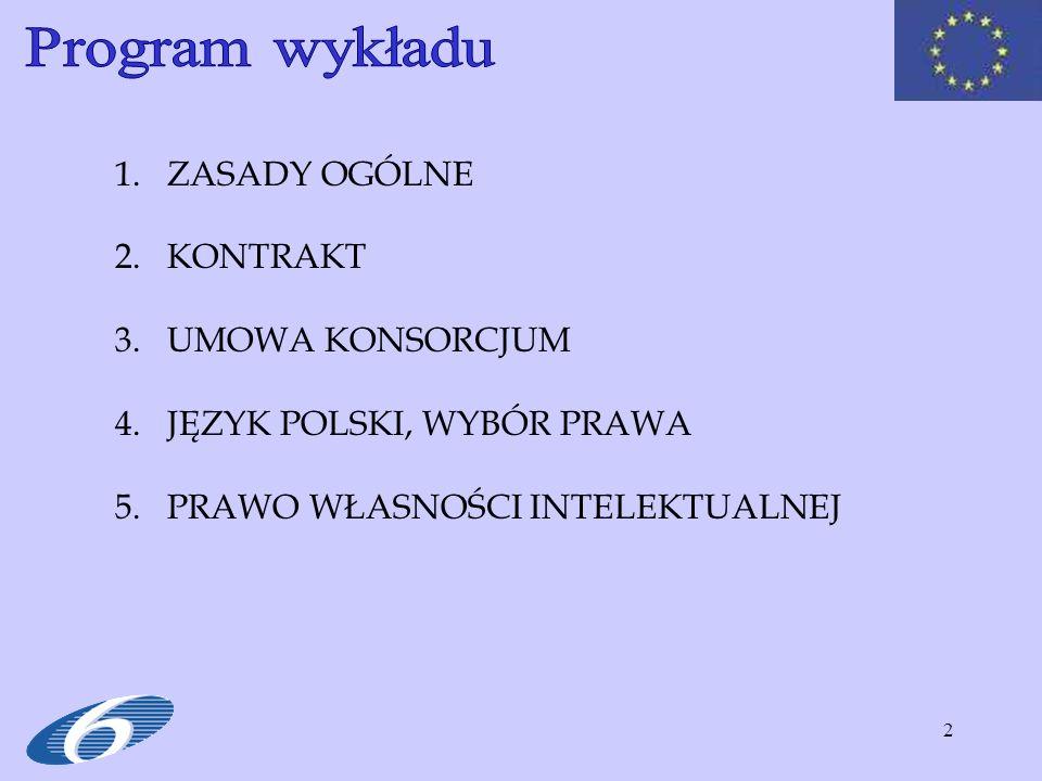 2 1.ZASADY OGÓLNE 2.KONTRAKT 3.UMOWA KONSORCJUM 4.JĘZYK POLSKI, WYBÓR PRAWA 5.PRAWO WŁASNOŚCI INTELEKTUALNEJ