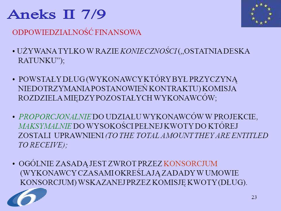 23 ODPOWIEDZIALNOŚĆ FINANSOWA UŻYWANA TYLKO W RAZIE KONIECZNOŚCI (OSTATNIA DESKA RATUNKU); POWSTAŁY DŁUG (WYKONAWCY KTÓRY BYŁ PRZYCZYNĄ NIEDOTRZYMANIA