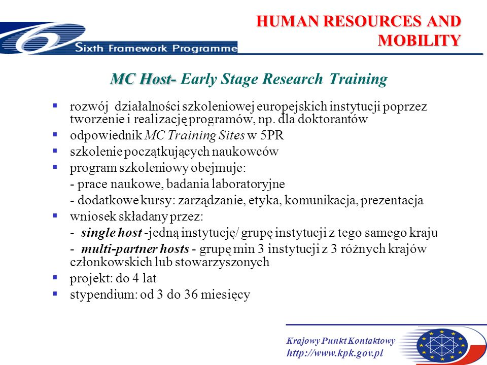 Krajowy Punkt Kontaktowy   HUMAN RESOURCES AND MOBILITY MC Host- MC Host- Early Stage Research Training rozwój działalności szkoleniowej europejskich instytucji poprzez tworzenie i realizację programów, np.