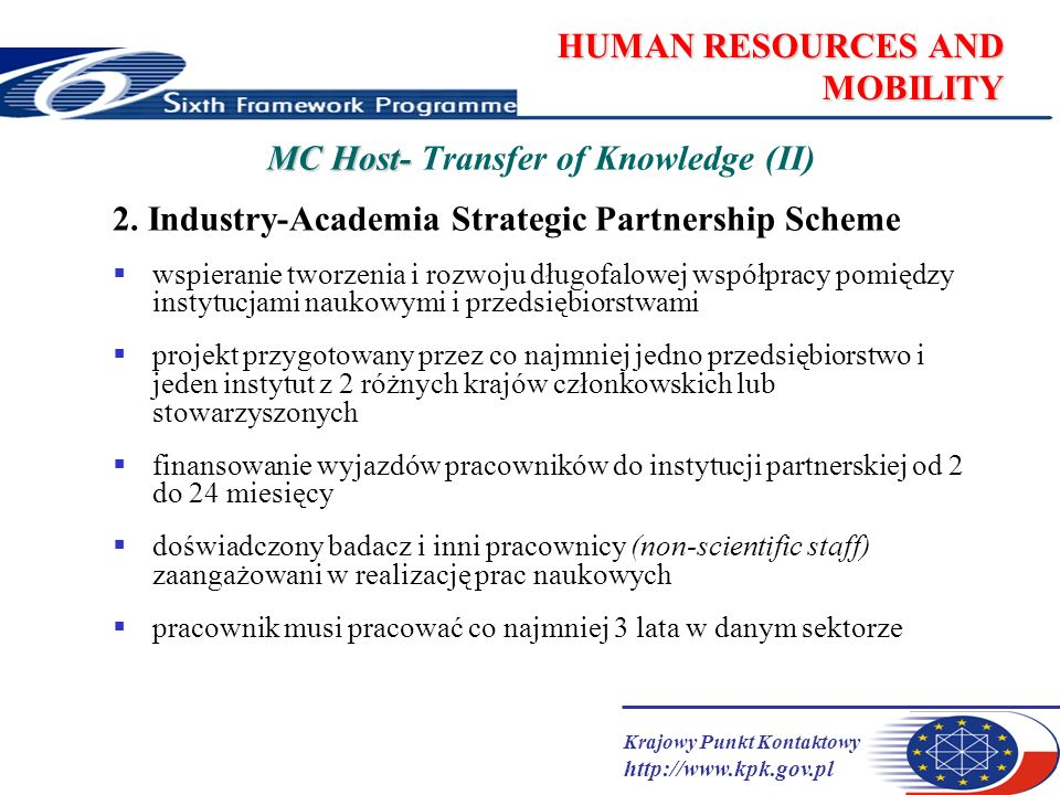 Krajowy Punkt Kontaktowy http://www.kpk.gov.pl HUMAN RESOURCES AND MOBILITY MC Host- MC Host- Transfer of Knowledge (II) 2. Industry-Academia Strategi